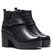 Womens Ladies Casual Chunky Mid Heel Biker Platform PU Black Zip Ankle Boots