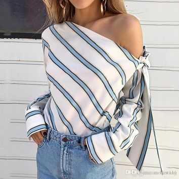Striped Blouse Women One Shoulder Tops Sexy Long Sleeve Bow Shirts Female Fashion Women's Blouses Chemisier Femme