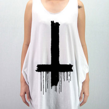 INVERTED CROSS DRIPPING Shirt Dress Softly/Lightly Tank Top TShirt Top Unisex - silk screen handmade