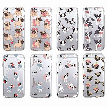 Cute Puppy Pug Bunny Cat Princess Meow French Bulldog Soft Phone Case Coque Funda For iPhone7Plus 6 6S 6Plus 8 8plus X Samsung