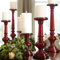 Red Mercury Glass Pillar Holders