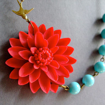Statement Necklace,Red Flower Necklace,Bridesmaid Jewelry Set,Beadwork,Aqua Pearl Jewelry,Bib Necklace,Gift Jewelry (Free matching earrings)