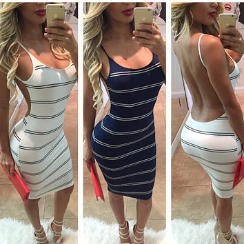 Backless Stripe Knee Length Bodycon Dress