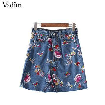 Vadim Women vintage floral embroidery tassel denim skirts faldas mujer pockets female casual A-line mini skirts BSQ559
