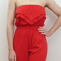vintage 1980s RED RUFFLE strapless jumpsuit by primitivepainters