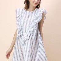 Striped Ruffled Babydoll Dress
