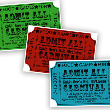 Carnival Ticket Invitation - Festival Birthday Party Invitations - Traditional Ticket Invite - Classic Carnival Fair - Red Blue Boy Girl