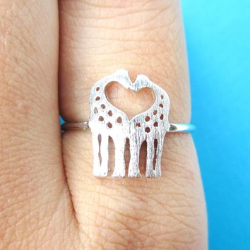Kissing Giraffe Silhouette Shaped Animal Ring in Silver | US Size 6 Only