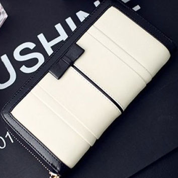 Black and White with Bow Tie Zip Wallet