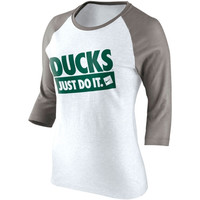 Nike Oregon Ducks Womens Raglan Three-Quarter Sleeve T-Shirt - White/Ash