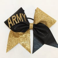 Army gold glitter and black cheer bow