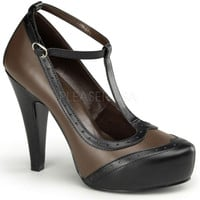 Pinup Couture Black and Brown Smitten Pumps