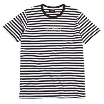 Gracious MFG. x Motivation Embroidered Striped T-Shirt Black / White