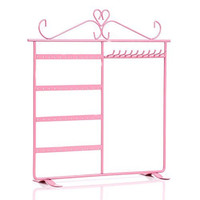 E-accexpert® Dual Purpose Earring and Necklace Display Holder Stand Organizer 48 Earring Holes 10 Necklace Hooks (Pink)