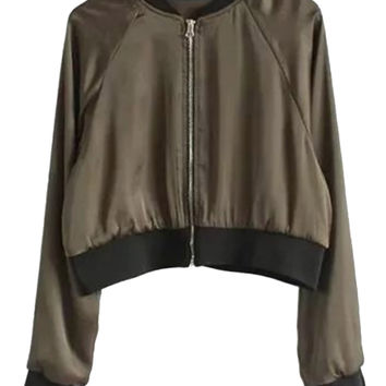 Seaweed Green Satin Look Bomber Jacket