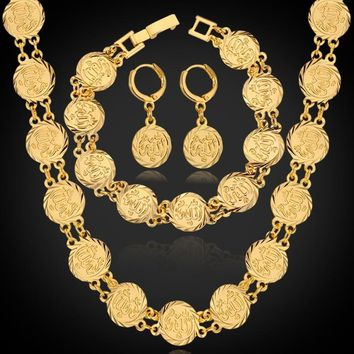 INFASHION Allah Muslim Jewelry Sets 18K Real Gold/ Platinum Plated Allah Coin Beaded Necklace Bracelet  Drop Earrings Sets With