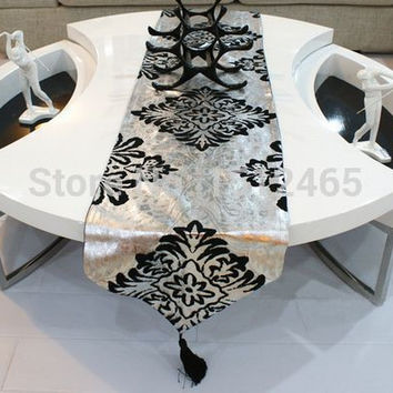 Free shipping,New Design Suede Nap silver black Table Runner Wedding Decoration Home Table cloth Decor 195*33cm ZQ19