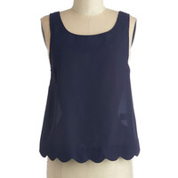 Short Length Tank top (2 thick straps) Breezy on the Eyes Top in Navy