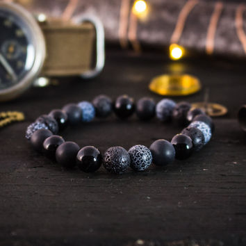 8mm - Black onyx, matte black onyx, crackled agate & lava stone beaded stretchy bracelet, gemstone bracelet, mens bracelet, womens bracelet