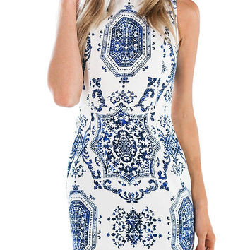 Blue Tapestry Print High Neck Dress With Cut Out Back