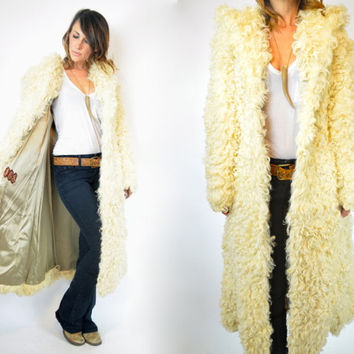 shearling CURLY LAMB sheepskin shaggy HOODED mongolian fur maxi jacket coat, extra small-medium