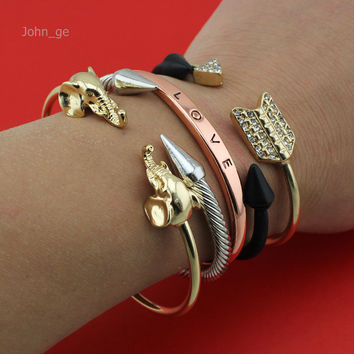 New Hot Women Fashion Jewelry Cute Gold/Silver/Black/Rose Gold Cool Elephant/Arrow/Cross Cuff Bangle Bracelet RRR Free Shipping