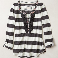 Ruffled Stripe Henley