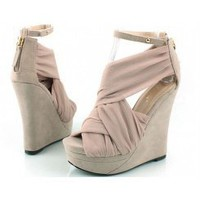 Wholesale Silk surface wedge sandals XD-555-11 apricot - Lovely Fashion