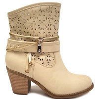 Beige Zipper Luciana Boot