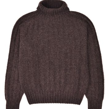 Tom Ford Mens Cashmere Brown Rib Knit Turtleneck Sweater