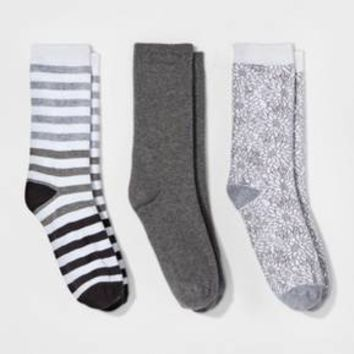 Women's 3pk Crew Socks - A New Day™ Gray Sketch Floral One Size