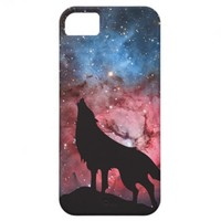 Wolf Howling in Galaxy iPhone 5 Cases