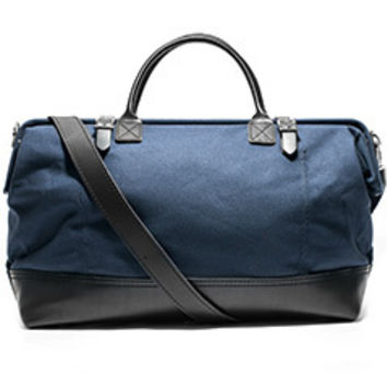 Canvas & Leather Weekender Bag (Navy)