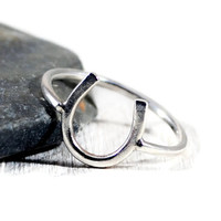 Horseshoe Sterling Ring. Silver Lucky Ring. Mother's Day Jewelry. Gift For New Mother. 14 Gauge Ring. Minimalist Jewelry By GSminimal