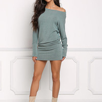 Sage Off Shoulder Dolman Bodycon Dress