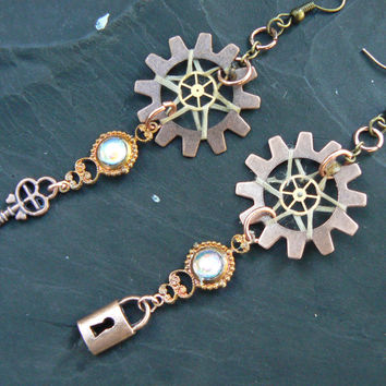 victorian steampunk lock and key dreamcatcher earrings in steampunk victorian tribal boho belly dancer and hipster style