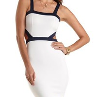 Cut-Out Color Block Bodycon Dress by Charlotte Russe - White/Blue