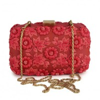 Royal Red Clutch with Floral Pattern - Karieshma Sarnaa Clutches - Karieshma Sarnaa - Designers