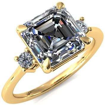 Poppy Asscher Moissanite 4 Claw Prong 2 Rail Basket Round Sidestones Inverted Cathedral Engagement Ring