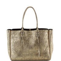 Lanvin Metallic Crinkled Leather Tote Bag, Gold