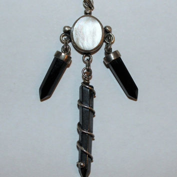 Unique Vintage Art Deco Boho Hippy Fantasy Sterling Silver Mother of Pearl, Black Onyx, and Hematite Charm