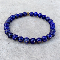 Compassion - Sixth Chakra, Genuine Lapis Lazuli Gemstone Mala Bracelet