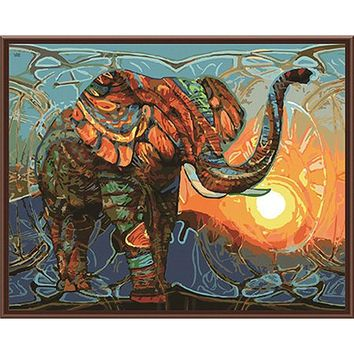Frameless Vintage Painting Elephant DIY Painting By Numbers Kits Acrylic Paint On Canvas Home Wall Art Picture Artwork 40x50cm