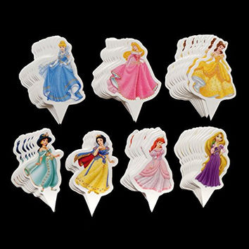Yunko 60 Pcs Disney Princess Fun Cupcake Decorative Toppers Cupcake Decorating Tools Belle Aurora Jasmine Rapunzel