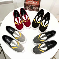 FENDI Reflective Canvas Loafers Casual Shoes