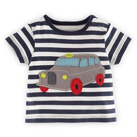 Infant Boy's Mini Boden 'Vehicle' Applique Cotton T-Shirt