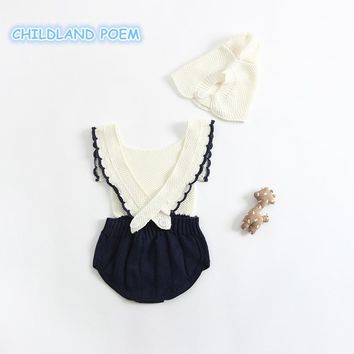 baby girls Rompers lovely newborn baby clothes Ruffle knitted baby romper sleeveless cotton baby boy clothes  jumpsuit