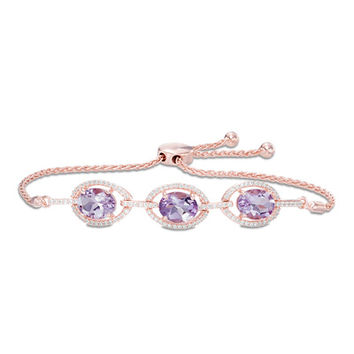 Oval Amethyst and Lab-Created White Sapphire Frame Bolo Bracelet in Sterling Silver with 14K Rose Gold Plate - 8