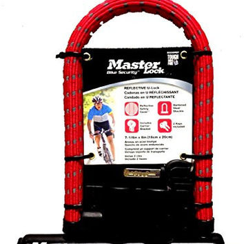 Master U-Lock for Bicycles with Carrier Bracket and 2 Keys (Red)