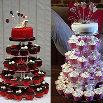 5 Tier Round Crystal Clear Acrylic Cupcake Wedding Party Cake Tower Display Stand Height 16.4inch(US STOCK)